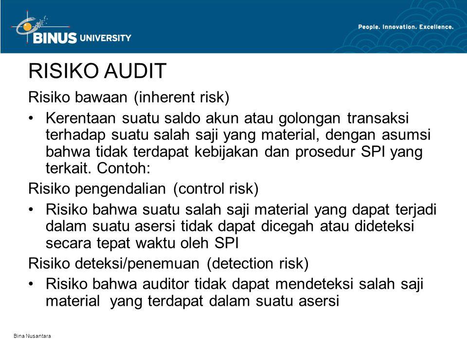 Bina Nusantara RISIKO AUDIT Risiko bawaan (inherent risk) Kerentaan suatu saldo akun atau golongan transaksi terhadap suatu salah saji yang material,