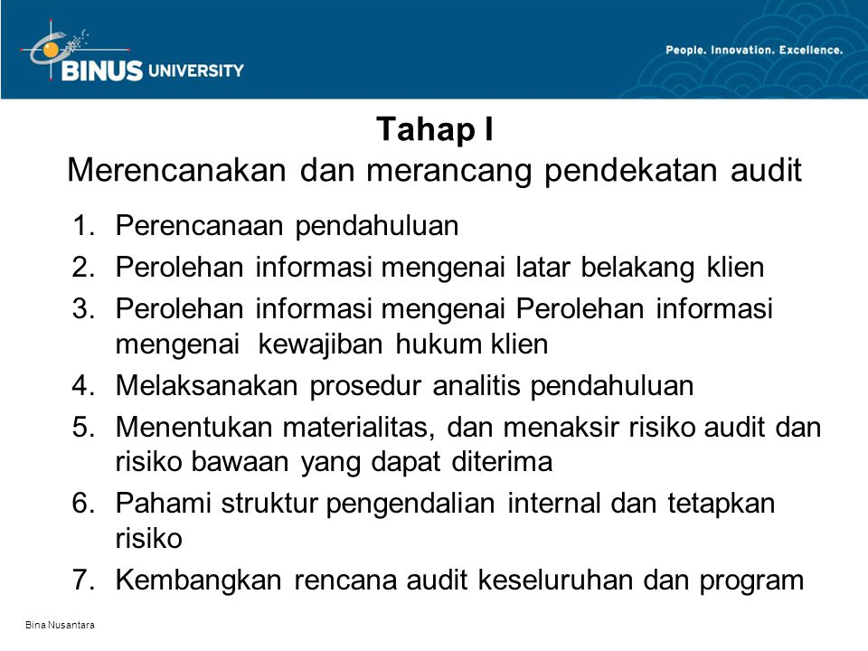 Bina Nusantara ALASAN AUDIT HARUS DIRENCANAKAN DENGAN BAIK : 1.