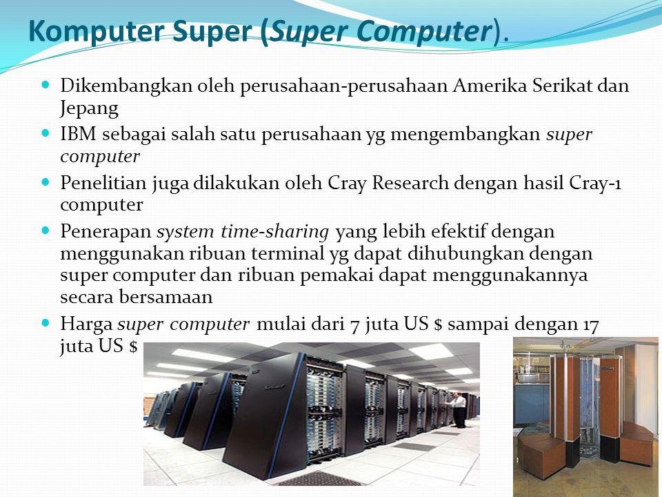 Komputer Super (Super Computer). Dikembangkan oleh perusahaan-perusahaan Amerika Serikat dan Jepang IBM sebagai salah satu perusahaan yg mengembangkan