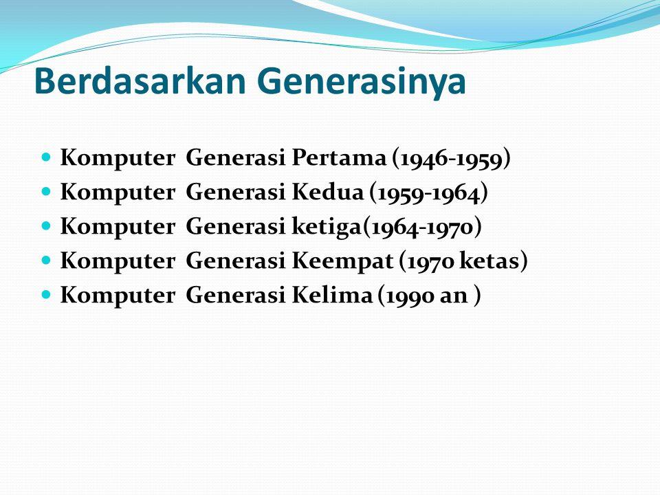 Berdasarkan Generasinya Komputer Generasi Pertama (1946-1959) Komputer Generasi Kedua (1959-1964) Komputer Generasi ketiga(1964-1970) Komputer Generas