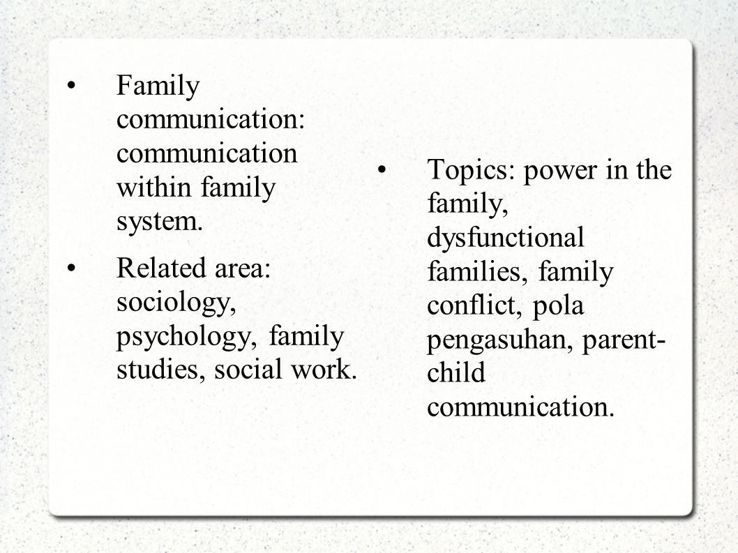 Family communication: communication within family system. Related area: sociology, psychology, family studies, social work. Topics: power in the famil