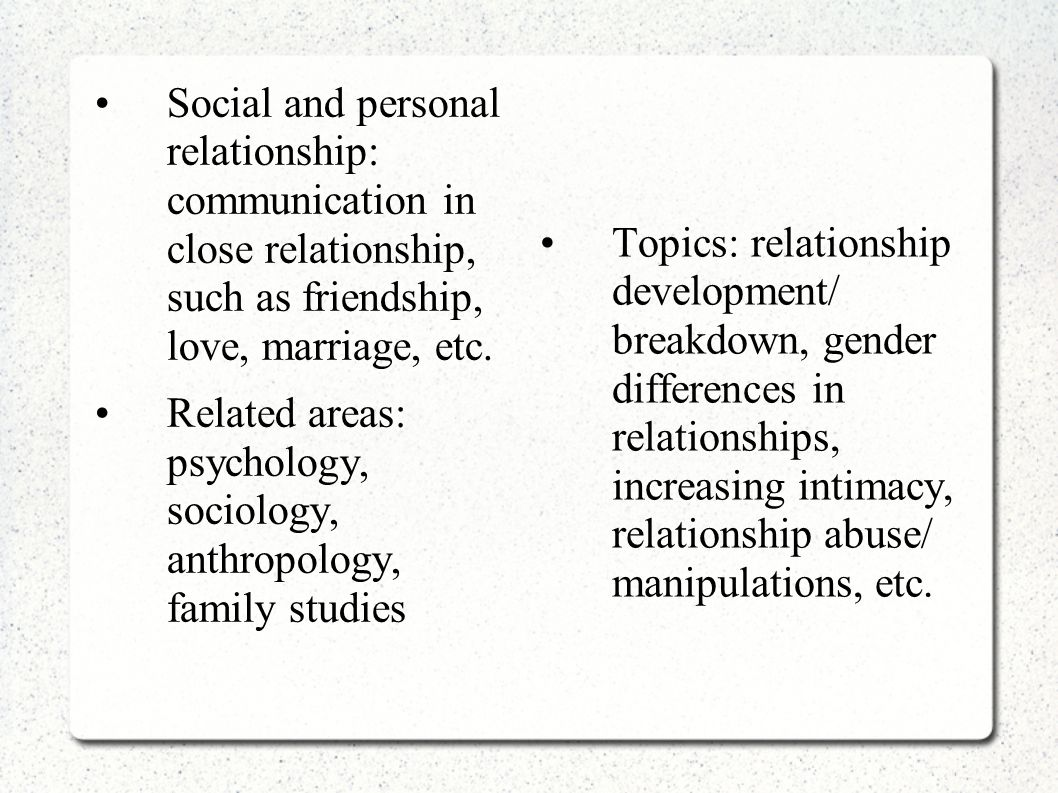 Social and personal relationship: communication in close relationship, such as friendship, love, marriage, etc. Related areas: psychology, sociology,