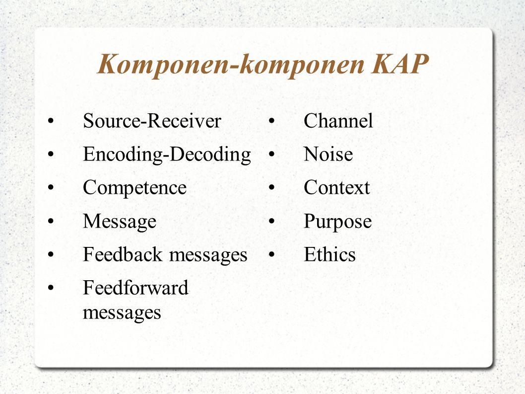 Komponen-komponen KAP Source-Receiver Encoding-Decoding Competence Message Feedback messages Feedforward messages Channel Noise Context Purpose Ethics