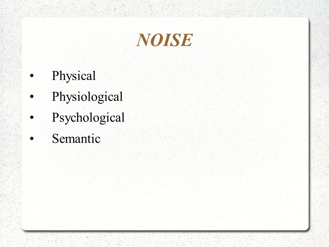NOISE Physical Physiological Psychological Semantic