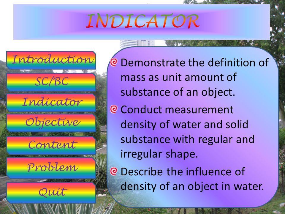 Introduction SC/BC Objective Indicator Content Problem Quit Standard of Competency 8.