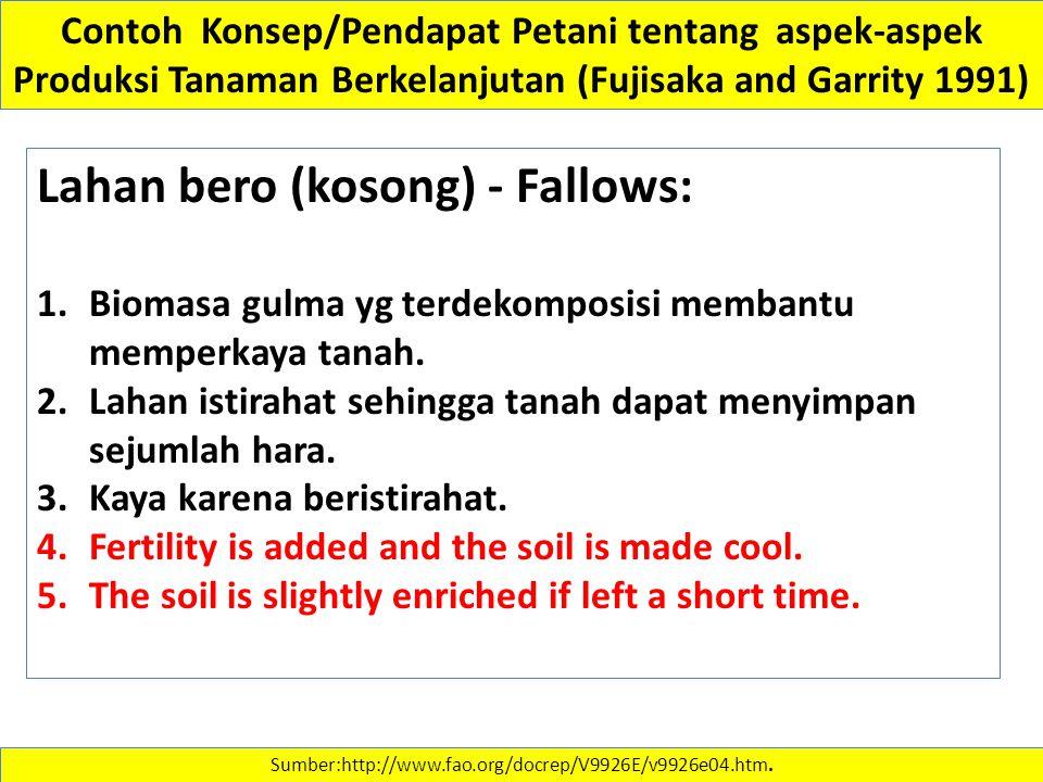 Lahan bero (kosong) - Fallows: 1.Biomasa gulma yg terdekomposisi membantu memperkaya tanah. 2.Lahan istirahat sehingga tanah dapat menyimpan sejumlah
