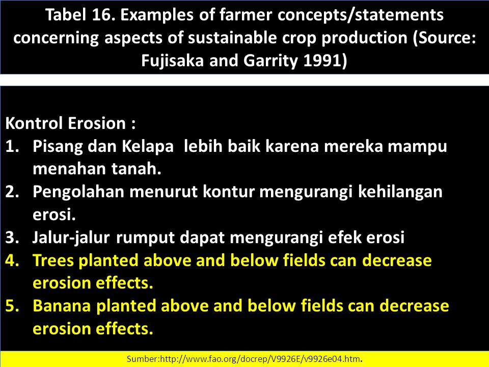 Tabel 16. Examples of farmer concepts/statements concerning aspects of sustainable crop production (Source: Fujisaka and Garrity 1991) Kontrol Erosion