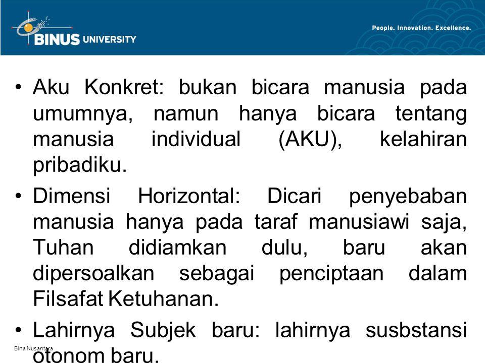 Bina Nusantara Aku Konkret: bukan bicara manusia pada umumnya, namun hanya bicara tentang manusia individual (AKU), kelahiran pribadiku.