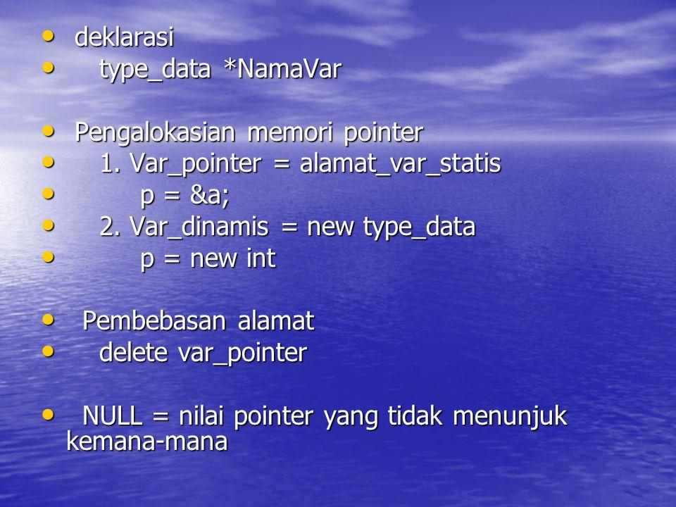deklarasi deklarasi type_data *NamaVar type_data *NamaVar Pengalokasian memori pointer Pengalokasian memori pointer 1.