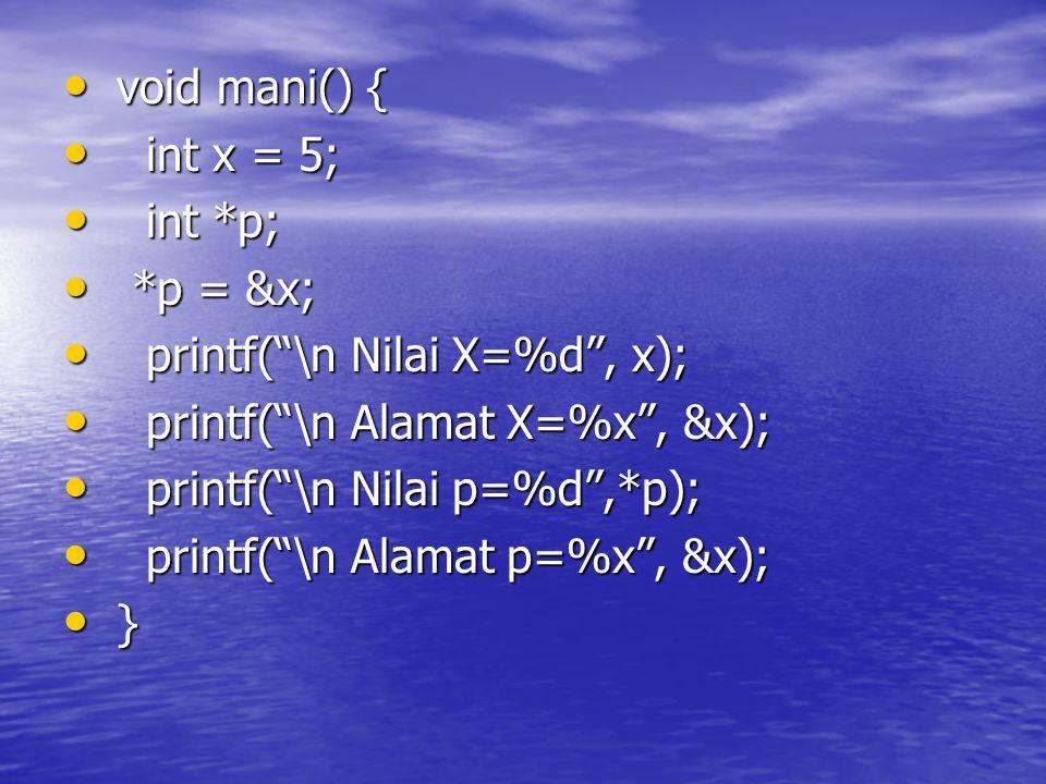 void mani() { void mani() { int x = 5; int x = 5; int *p; int *p; *p = &x; *p = &x; printf( \n Nilai X=%d , x); printf( \n Nilai X=%d , x); printf( \n Alamat X=%x , &x); printf( \n Alamat X=%x , &x); printf( \n Nilai p=%d ,*p); printf( \n Nilai p=%d ,*p); printf( \n Alamat p=%x , &x); printf( \n Alamat p=%x , &x); } }