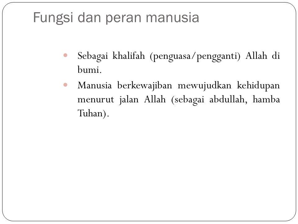 Fungsi dan peran manusia Sebagai khalifah (penguasa/pengganti) Allah di bumi.
