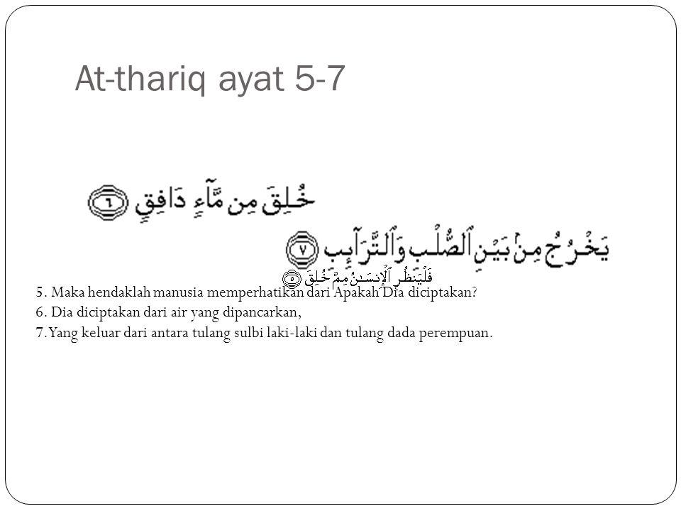 At-thariq ayat 5-7 5.Maka hendaklah manusia memperhatikan dari Apakah Dia diciptakan.