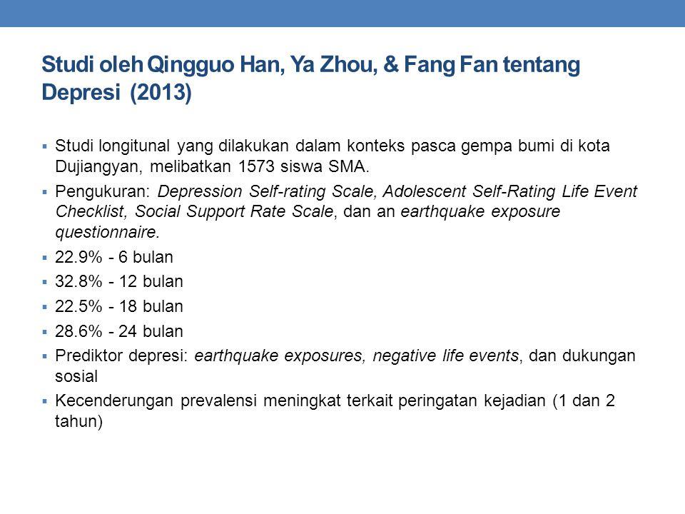 Studi oleh Qingguo Han, Ya Zhou, & Fang Fan tentang Depresi (2013)  Studi longitunal yang dilakukan dalam konteks pasca gempa bumi di kota Dujiangyan