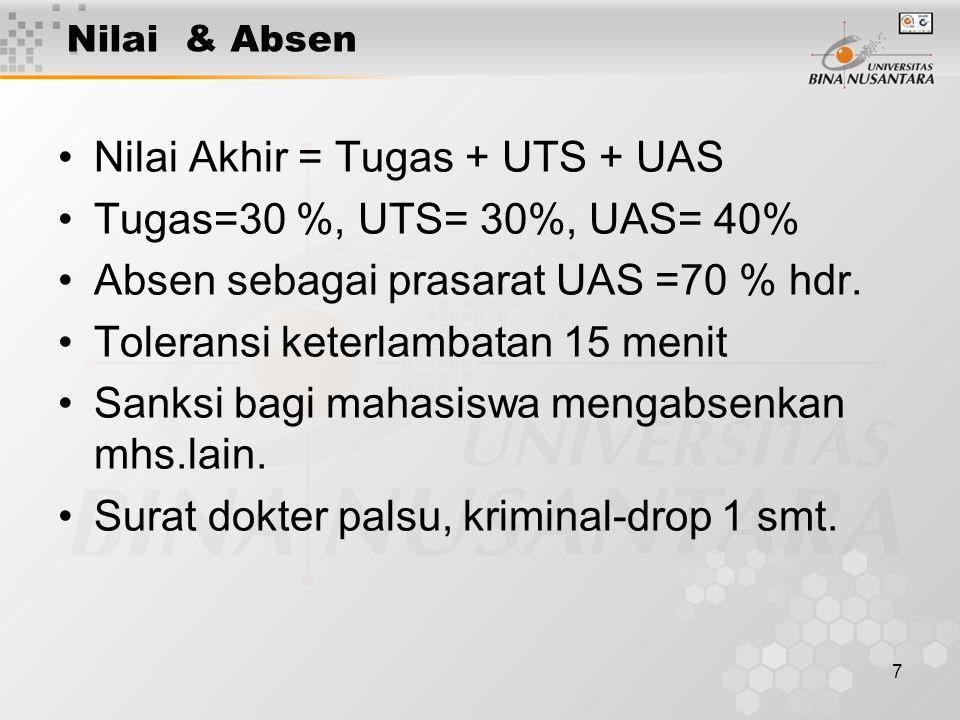 7 Nilai & Absen Nilai Akhir = Tugas + UTS + UAS Tugas=30 %, UTS= 30%, UAS= 40% Absen sebagai prasarat UAS =70 % hdr. Toleransi keterlambatan 15 menit