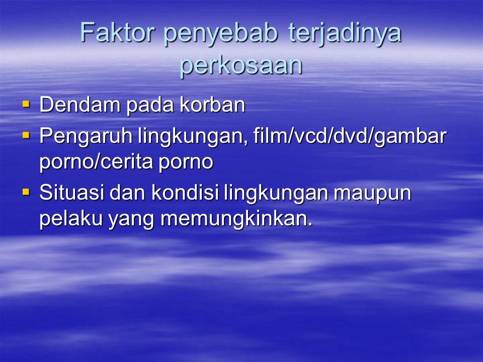 Faktor penyebab terjadinya perkosaan  Dendam pada korban  Pengaruh lingkungan, film/vcd/dvd/gambar porno/cerita porno  Situasi dan kondisi lingkung
