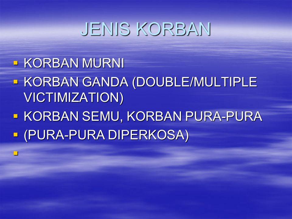 JENIS KORBAN  KORBAN MURNI  KORBAN GANDA (DOUBLE/MULTIPLE VICTIMIZATION)  KORBAN SEMU, KORBAN PURA-PURA  (PURA-PURA DIPERKOSA) 