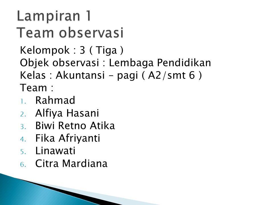 Kelompok : 3 ( Tiga ) Objek observasi : Lembaga Pendidikan Kelas : Akuntansi – pagi ( A2/smt 6 ) Team : 1. Rahmad 2. Alfiya Hasani 3. Biwi Retno Atika