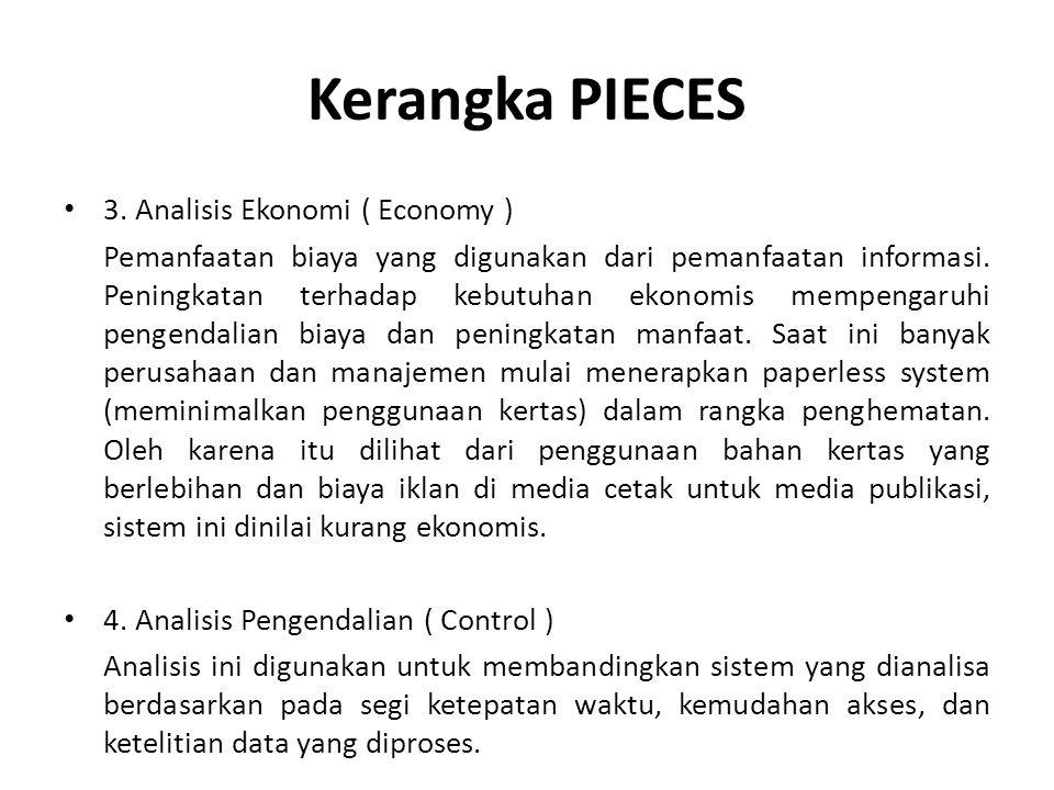 Kerangka PIECES 3. Analisis Ekonomi ( Economy ) Pemanfaatan biaya yang digunakan dari pemanfaatan informasi. Peningkatan terhadap kebutuhan ekonomis m