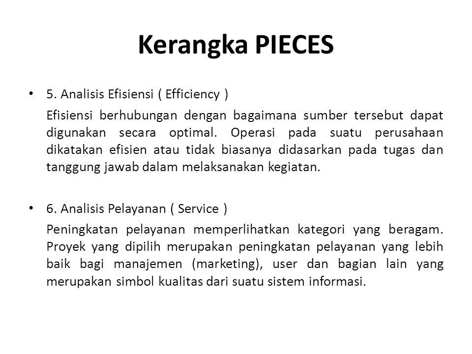 Kerangka PIECES 5. Analisis Efisiensi ( Efficiency ) Efisiensi berhubungan dengan bagaimana sumber tersebut dapat digunakan secara optimal. Operasi pa