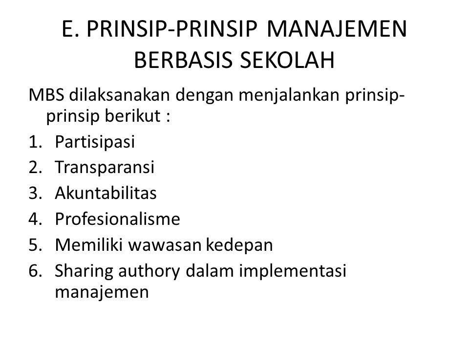 E. PRINSIP-PRINSIP MANAJEMEN BERBASIS SEKOLAH MBS dilaksanakan dengan menjalankan prinsip- prinsip berikut : 1.Partisipasi 2.Transparansi 3.Akuntabili