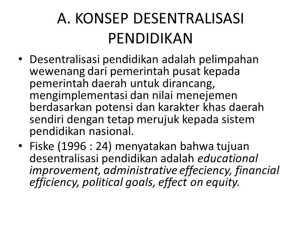 A. KONSEP DESENTRALISASI PENDIDIKAN Desentralisasi pendidikan adalah pelimpahan wewenang dari pemerintah pusat kepada pemerintah daerah untuk dirancan