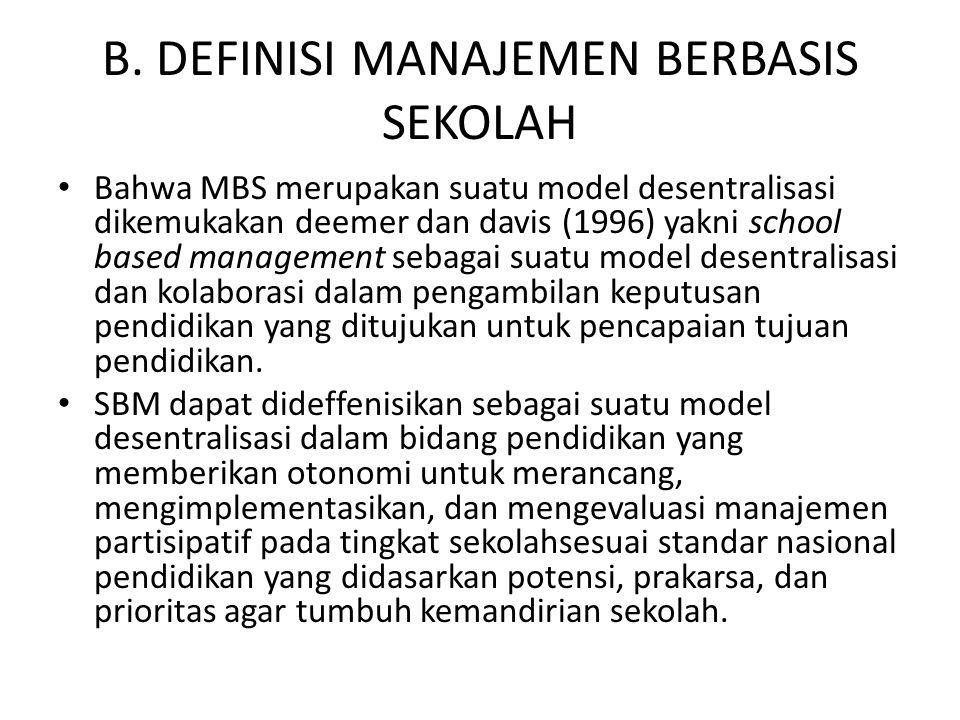 B. DEFINISI MANAJEMEN BERBASIS SEKOLAH Bahwa MBS merupakan suatu model desentralisasi dikemukakan deemer dan davis (1996) yakni school based managemen