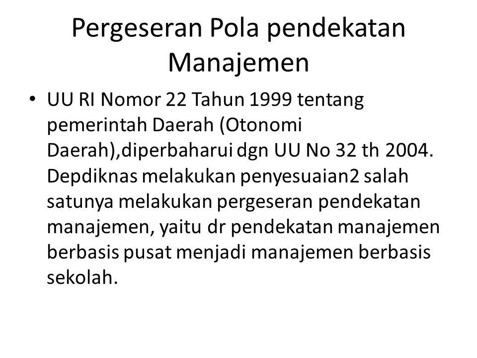 Pergeseran Pola pendekatan Manajemen UU RI Nomor 22 Tahun 1999 tentang pemerintah Daerah (Otonomi Daerah),diperbaharui dgn UU No 32 th 2004. Depdiknas