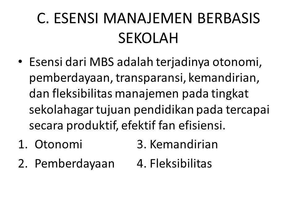C. ESENSI MANAJEMEN BERBASIS SEKOLAH Esensi dari MBS adalah terjadinya otonomi, pemberdayaan, transparansi, kemandirian, dan fleksibilitas manajemen p