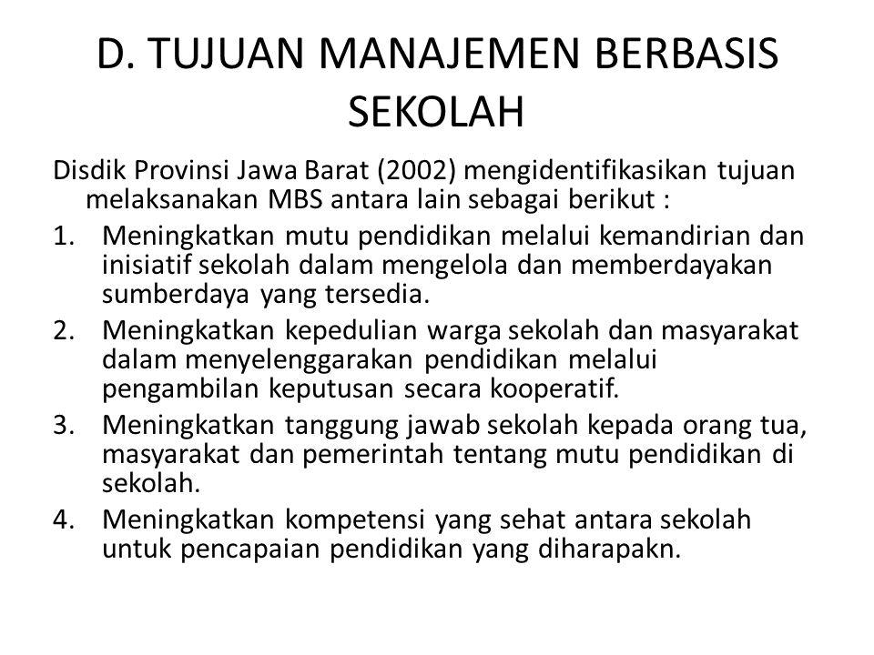 D. TUJUAN MANAJEMEN BERBASIS SEKOLAH Disdik Provinsi Jawa Barat (2002) mengidentifikasikan tujuan melaksanakan MBS antara lain sebagai berikut : 1.Men