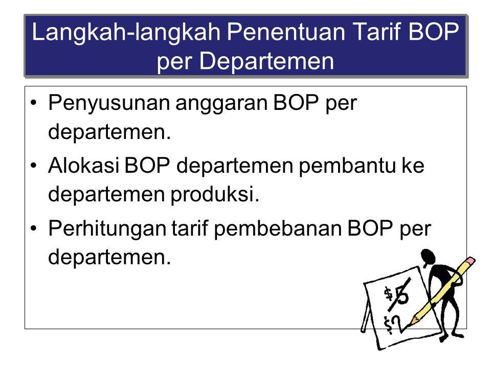 Langkah-langkah Penentuan Tarif BOP per Departemen Penyusunan anggaran BOP per departemen. Alokasi BOP departemen pembantu ke departemen produksi. Per