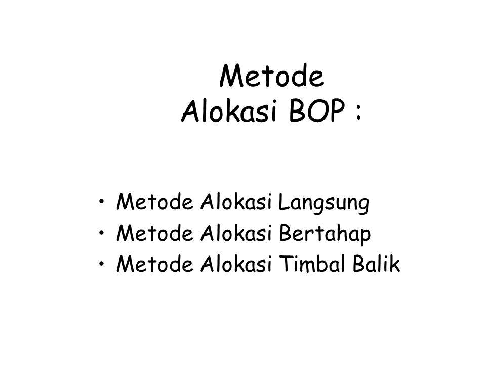 Metode Alokasi BOP : Metode Alokasi Langsung Metode Alokasi Bertahap Metode Alokasi Timbal Balik