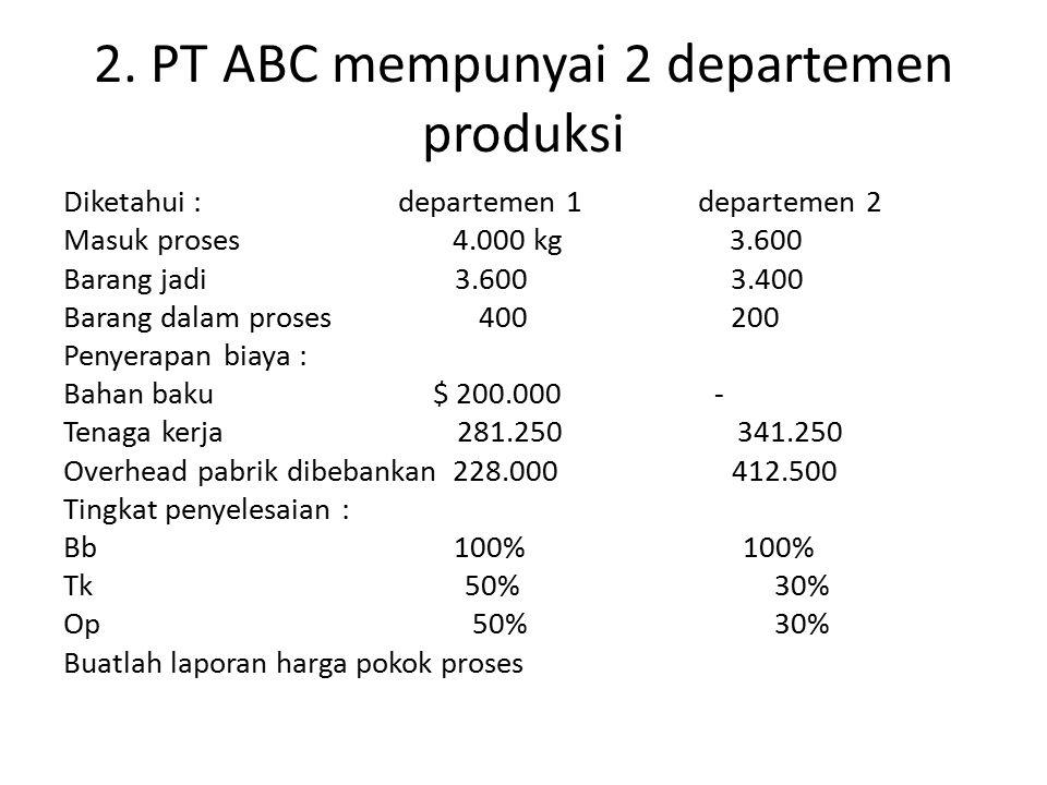 2. PT ABC mempunyai 2 departemen produksi Diketahui : departemen 1 departemen 2 Masuk proses 4.000 kg 3.600 Barang jadi 3.600 3.400 Barang dalam prose