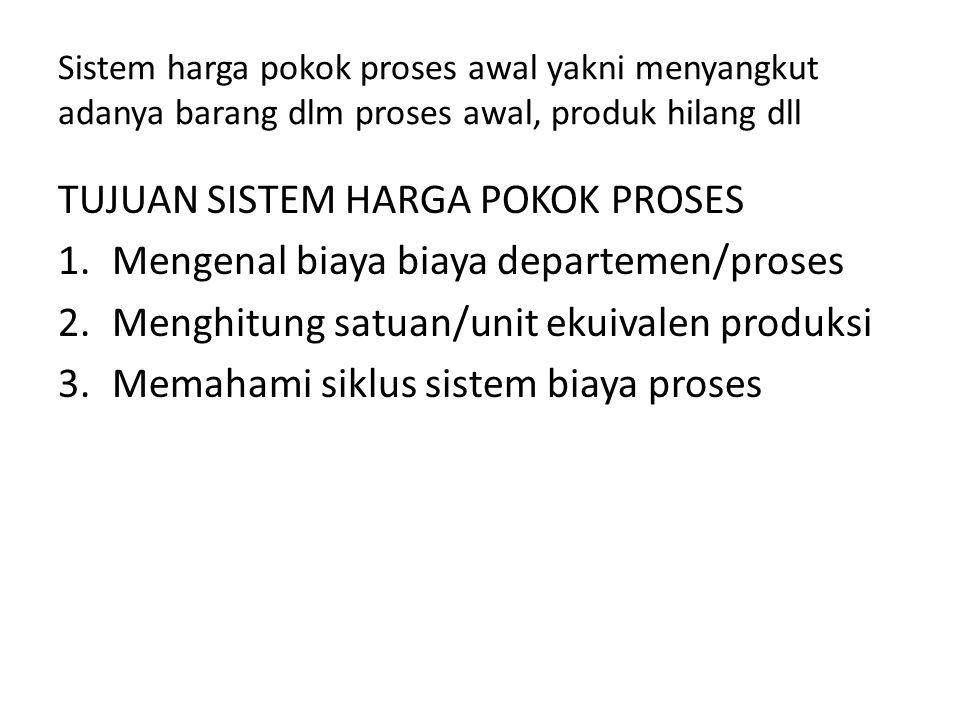 Sistem harga pokok proses awal yakni menyangkut adanya barang dlm proses awal, produk hilang dll TUJUAN SISTEM HARGA POKOK PROSES 1.Mengenal biaya bia