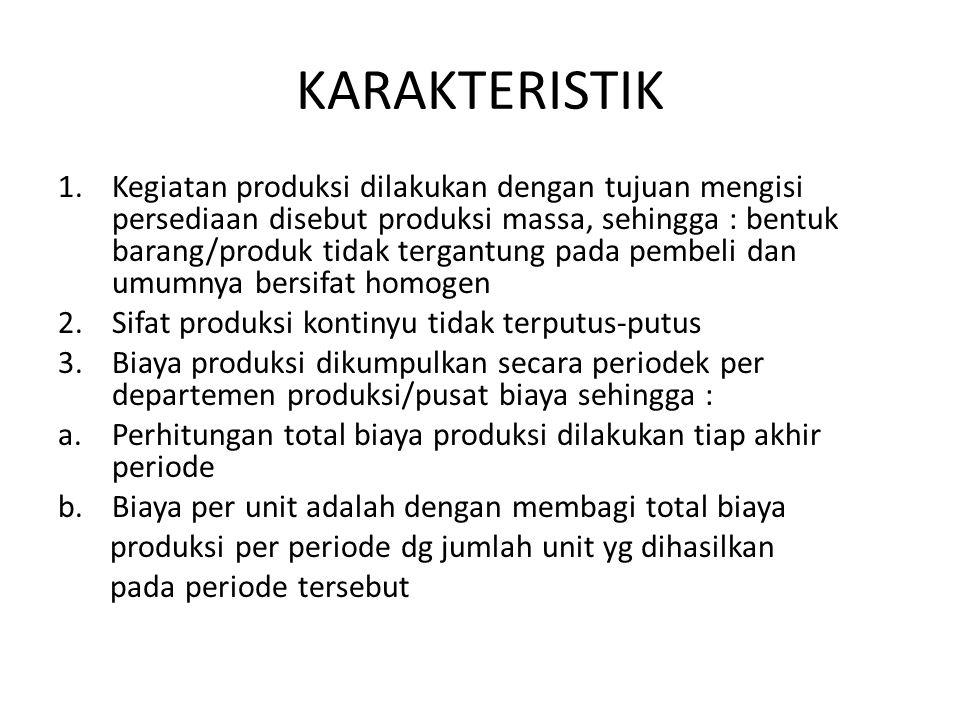KARAKTERISTIK 1.Kegiatan produksi dilakukan dengan tujuan mengisi persediaan disebut produksi massa, sehingga : bentuk barang/produk tidak tergantung