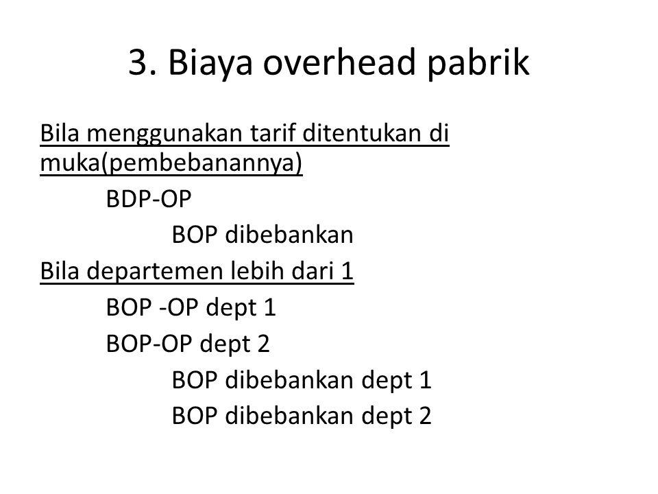 3. Biaya overhead pabrik Bila menggunakan tarif ditentukan di muka(pembebanannya) BDP-OP BOP dibebankan Bila departemen lebih dari 1 BOP -OP dept 1 BO
