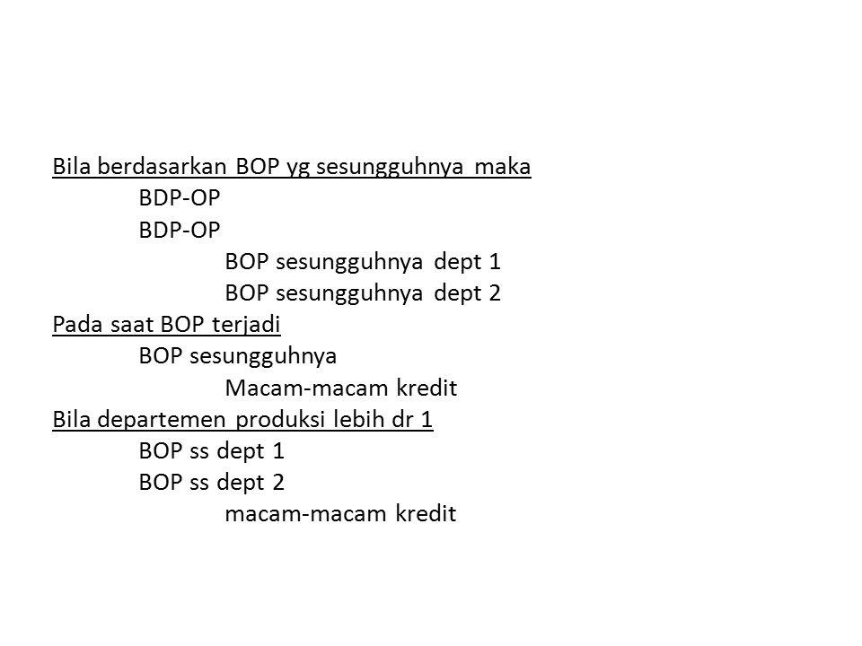 Bila berdasarkan BOP yg sesungguhnya maka BDP-OP BOP sesungguhnya dept 1 BOP sesungguhnya dept 2 Pada saat BOP terjadi BOP sesungguhnya Macam-macam kr