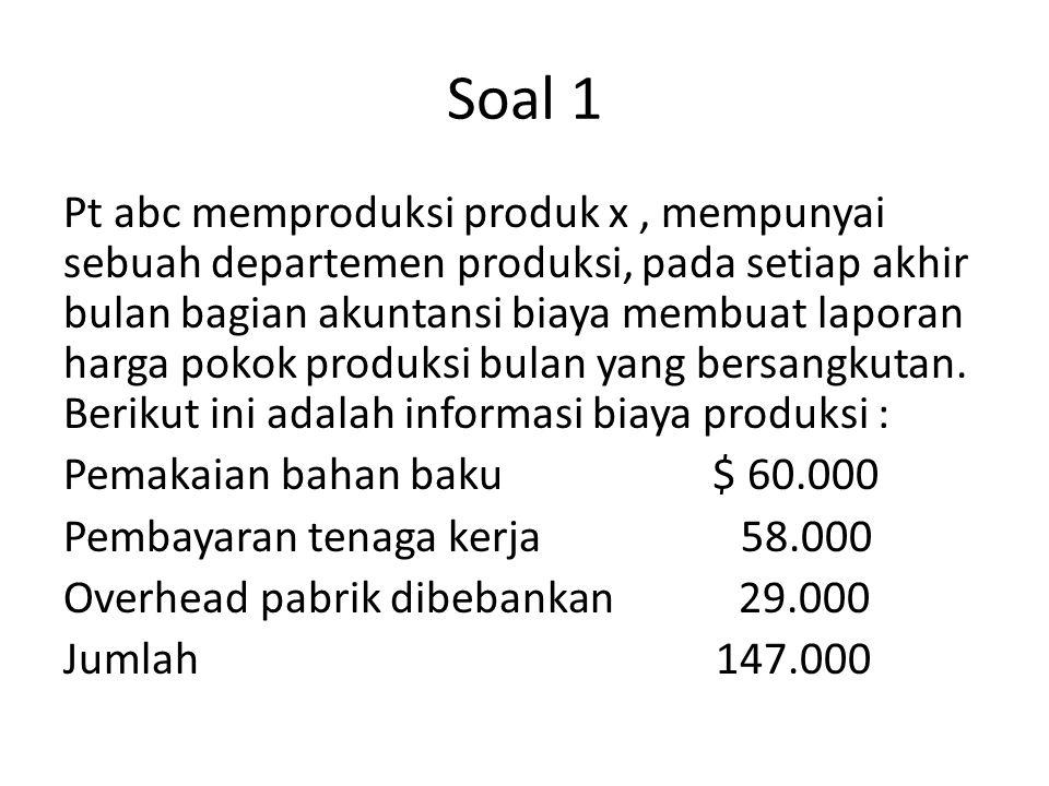 Soal 1 Pt abc memproduksi produk x, mempunyai sebuah departemen produksi, pada setiap akhir bulan bagian akuntansi biaya membuat laporan harga pokok p