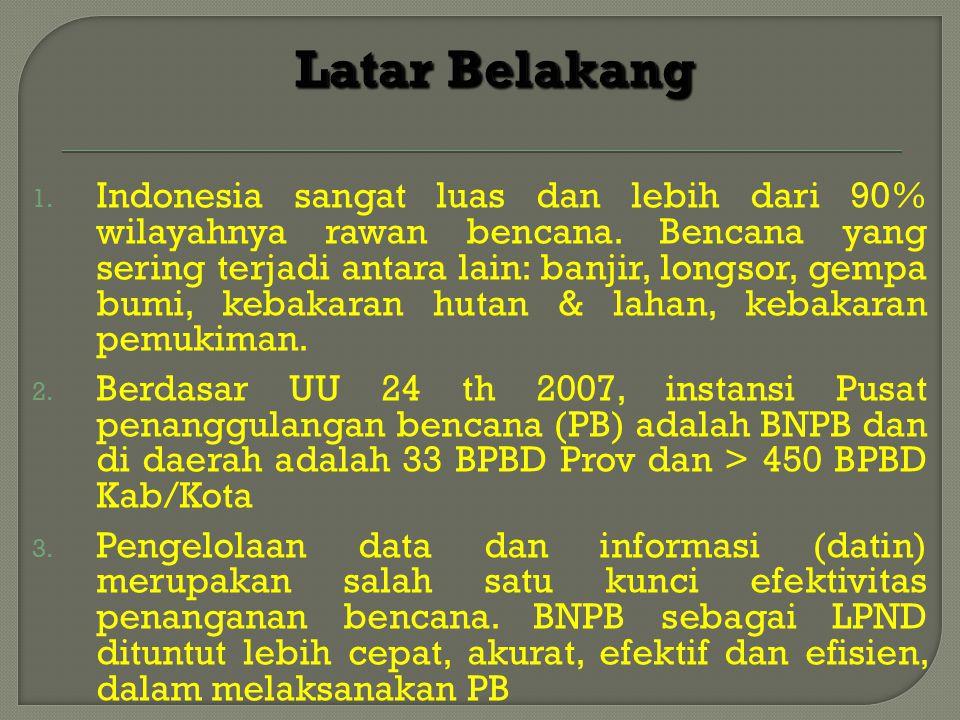 1. Indonesia sangat luas dan lebih dari 90% wilayahnya rawan bencana. Bencana yang sering terjadi antara lain: banjir, longsor, gempa bumi, kebakaran