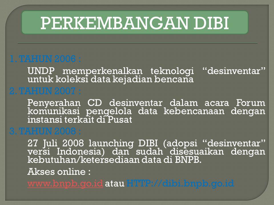 """1. TAHUN 2006 : UNDP memperkenalkan teknologi """"desinventar"""" untuk koleksi data kejadian bencana 2. TAHUN 2007 : Penyerahan CD desinventar dalam acara"""