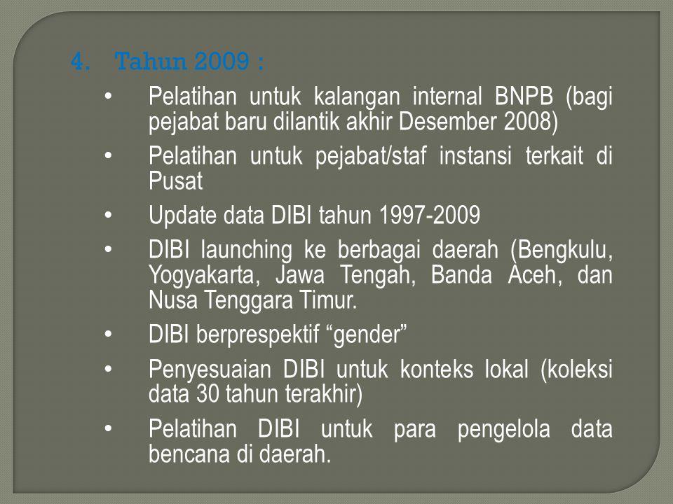 4.Tahun 2009 : Pelatihan untuk kalangan internal BNPB (bagi pejabat baru dilantik akhir Desember 2008) Pelatihan untuk pejabat/staf instansi terkait d
