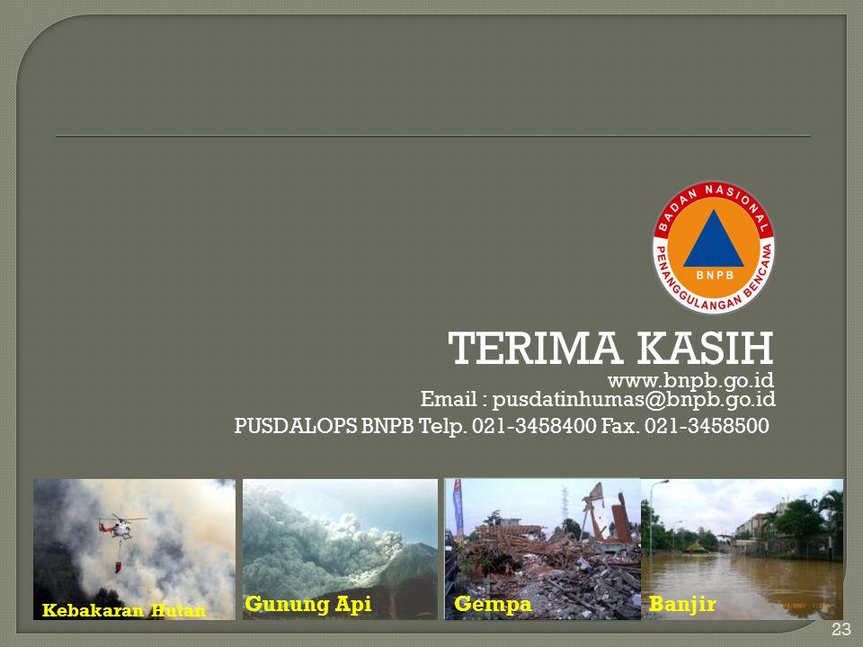 TERIMA KASIH www.bnpb.go.id Email : pusdatinhumas@bnpb.go.id PUSDALOPS BNPB Telp. 021-3458400 Fax. 021-3458500 23 Kebakaran Hutan Gunung ApiGempaBanji