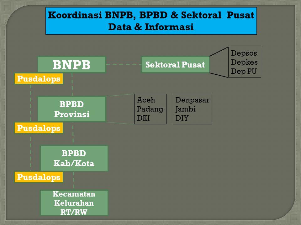 BNPB BPBD Provinsi BPBD Kab/Kota Sektoral Pusat Depsos Depkes Dep PU Aceh Padang DKI Koordinasi BNPB, BPBD & Sektoral Pusat Data & Informasi Kecamatan