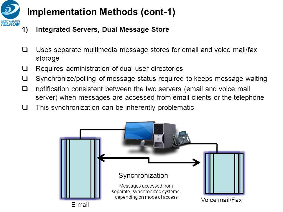 1)Integrated Servers, Dual Message Store  Uses separate multimedia message stores for email and voice mail/fax storage  Requires administration of d