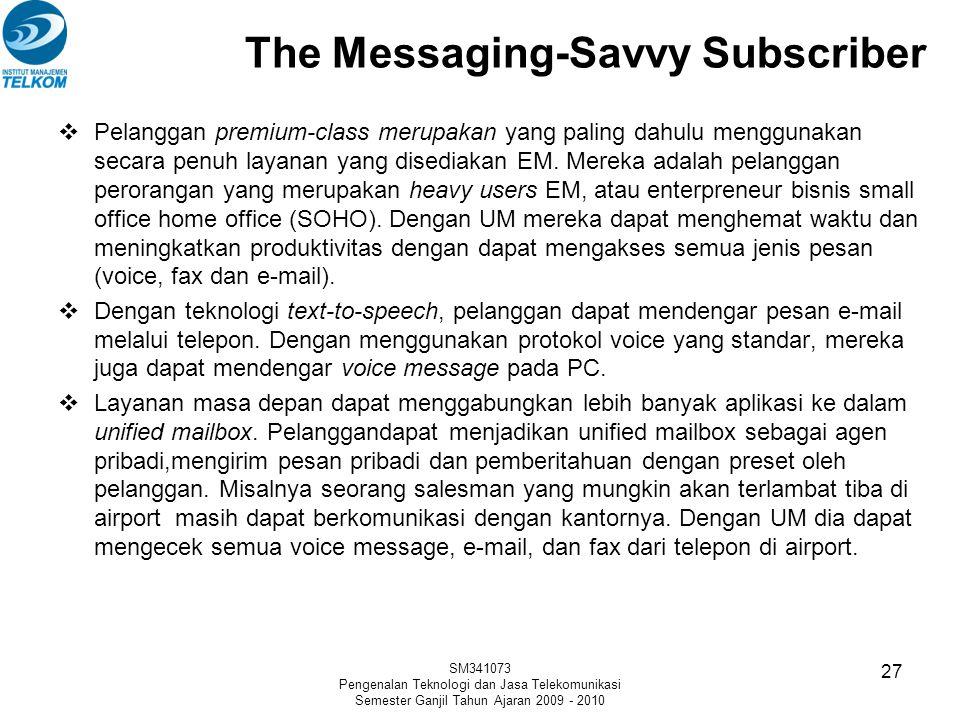 The Messaging-Savvy Subscriber  Pelanggan premium-class merupakan yang paling dahulu menggunakan secara penuh layanan yang disediakan EM. Mereka adal