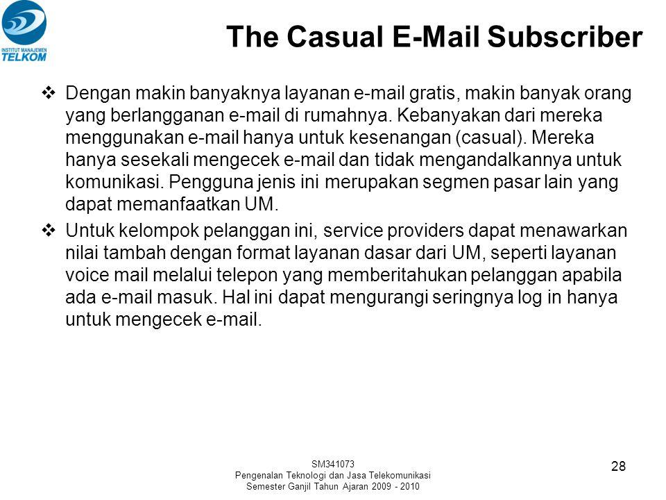 The Casual E-Mail Subscriber  Dengan makin banyaknya layanan e-mail gratis, makin banyak orang yang berlangganan e-mail di rumahnya. Kebanyakan dari