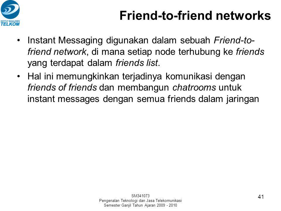 Friend-to-friend networks Instant Messaging digunakan dalam sebuah Friend-to- friend network, di mana setiap node terhubung ke friends yang terdapat d