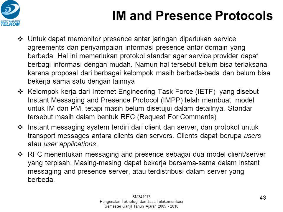 IM and Presence Protocols  Untuk dapat memonitor presence antar jaringan diperlukan service agreements dan penyampaian informasi presence antar domai