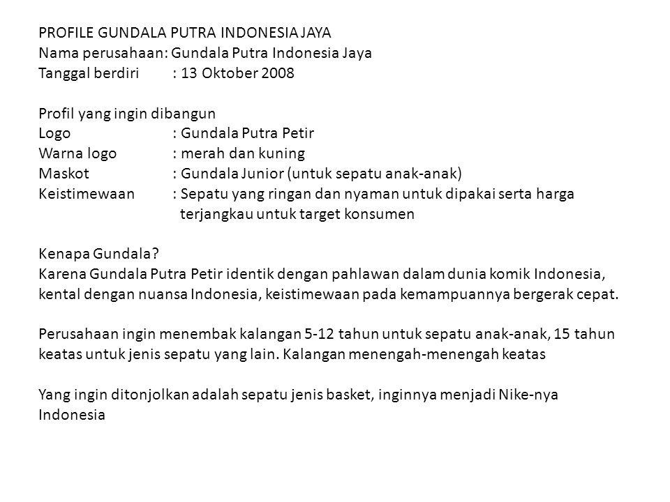 PROFILE GUNDALA PUTRA INDONESIA JAYA Nama perusahaan: Gundala Putra Indonesia Jaya Tanggal berdiri: 13 Oktober 2008 Profil yang ingin dibangun Logo :