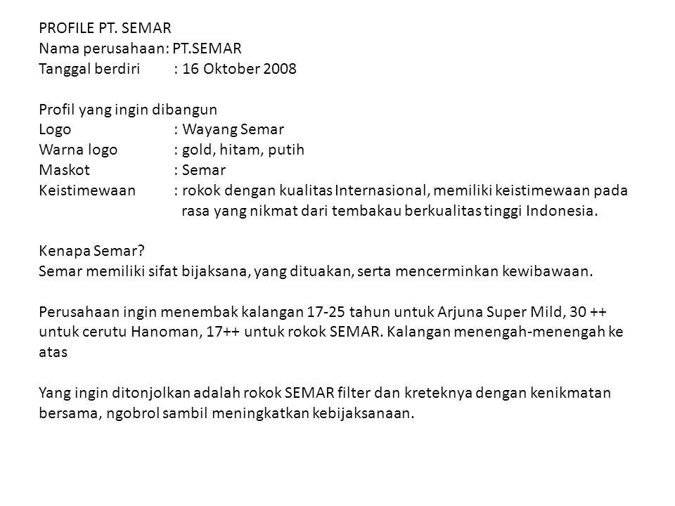 PROFILE PT. SEMAR Nama perusahaan: PT.SEMAR Tanggal berdiri: 16 Oktober 2008 Profil yang ingin dibangun Logo : Wayang Semar Warna logo: gold, hitam, p