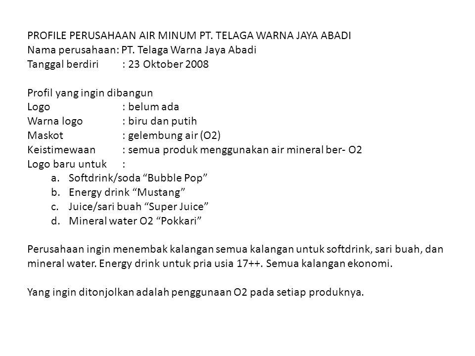 PROFILE PERUSAHAAN AIR MINUM PT. TELAGA WARNA JAYA ABADI Nama perusahaan: PT. Telaga Warna Jaya Abadi Tanggal berdiri: 23 Oktober 2008 Profil yang ing